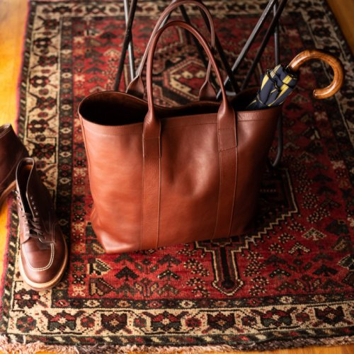 Tall Leather Tote  in Smooth Tumbled Leather