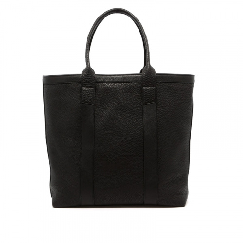 Tall Tote - Black - Pebbled Leather  in