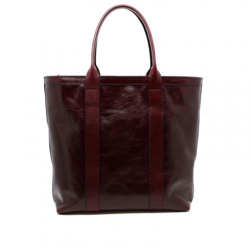 Tall Tote - Dark Maroon - Zipper Top - Glossy Tumbled Leather  in