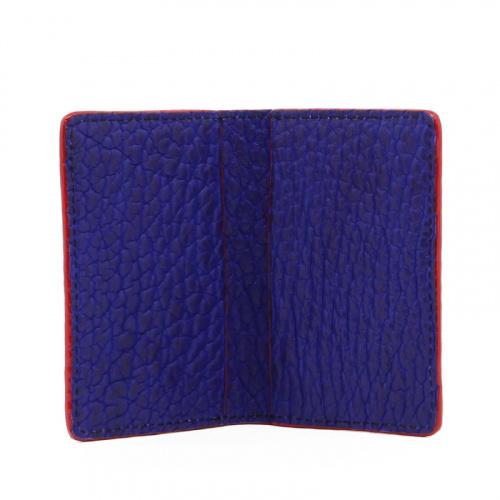 Folding Card Case - Vibrant Blue / Red Edges - Bison in