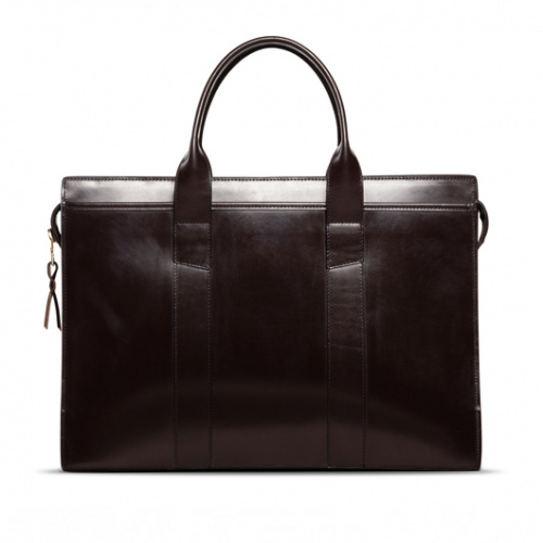 Zip-Top Briefcase Chocolate Bridle in