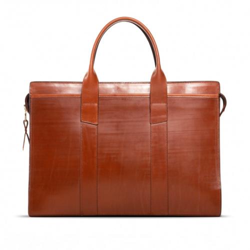Zip-Top Briefcase Chestnut Bridle in