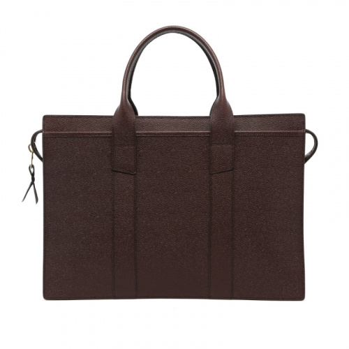 Zip-Top Briefcase - Chocolate - Scotch Grain Leather in