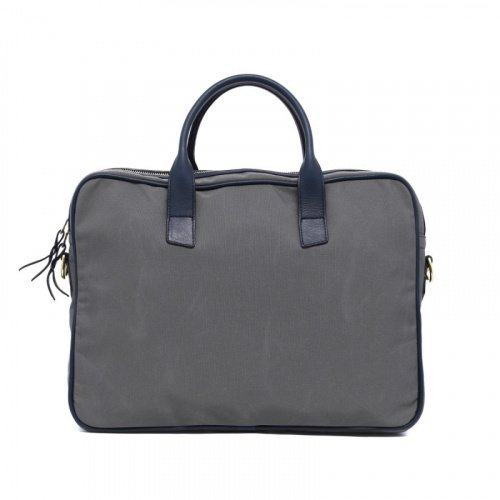 Computer Briefcase - Light Grey/Navy - Sunbrella Fabric in