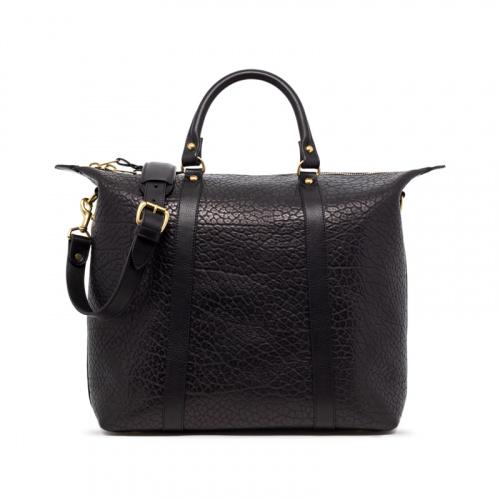 Hampton Zipper Tote-Black in Shrunken Grain Leather