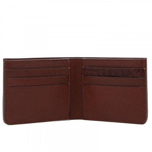 Bifold Wallet - Brown / Brown Gator - Hatch Grain Leather  in