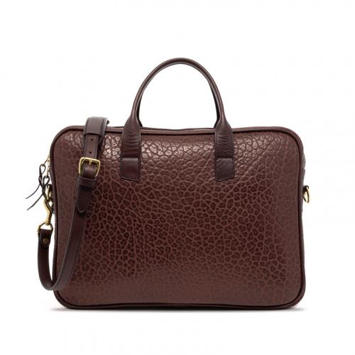Computer Briefcase Shrunken-Chocolate in Shrunken Grain Leather
