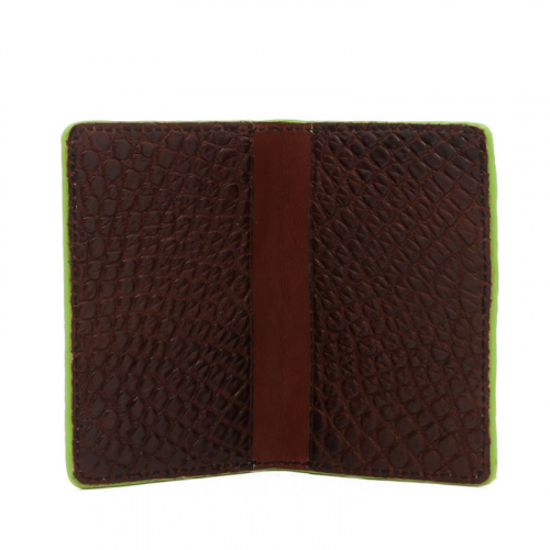 Folding Card Case - Chocolate / Lime Green Edges - Alligator in