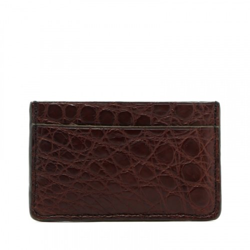 Mini Card Wallet - Chocolate / Hunter Green Edges - Alligator in