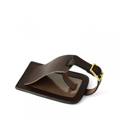 Luggage ID Tag in Smooth Tumbled Leather