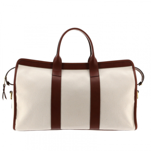 Signature Duffle - Ivory/Chestnut - Heavy Weight Canvas in