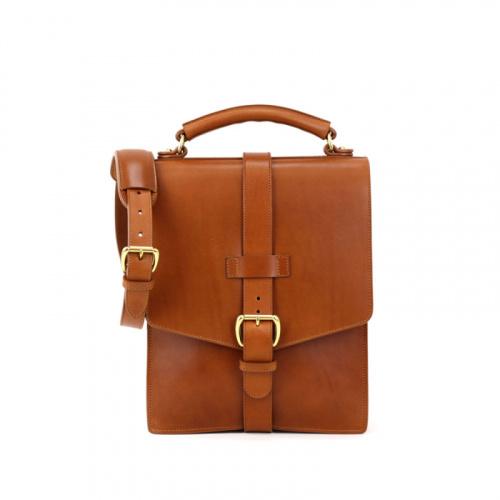 Buckle Messenger Bag in Harness Belting Leather