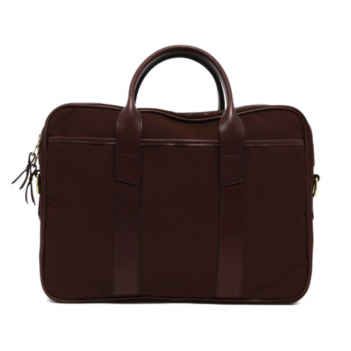 Commuter Briefcase - Chocolate - Sunbrella Fabric in