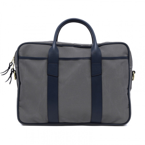 Commuter Briefcase - Light Grey/Navy - Sunbrella Fabric in