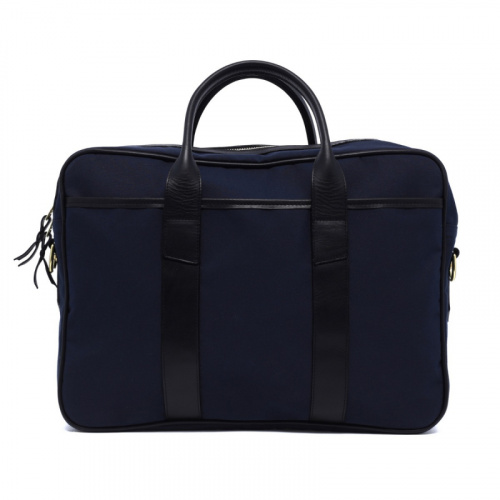 Commuter Briefcase - Navy/Black - Sunbrella Fabric in