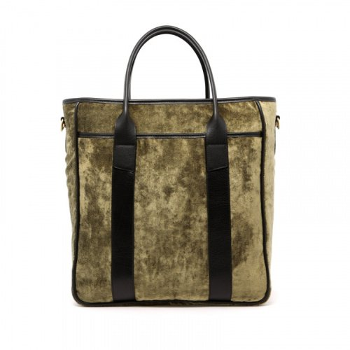 Commuter Tote - Light Olive - Velour Fabric in