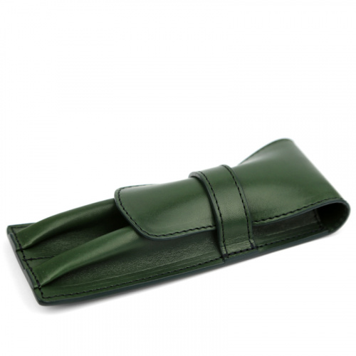 Double Fountain Pen Case in Harness Belting Leather