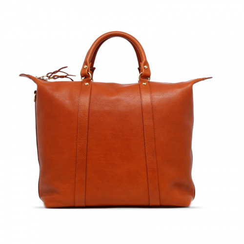 Hampton Tote - Cognac - Pebbled Tumbled Leather in