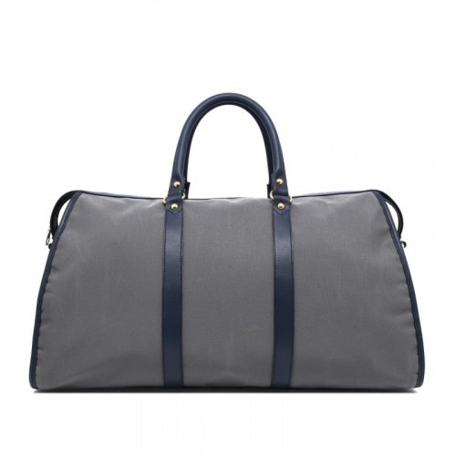 Hampton Duffle - Light Grey & Navy- Sunbrella in