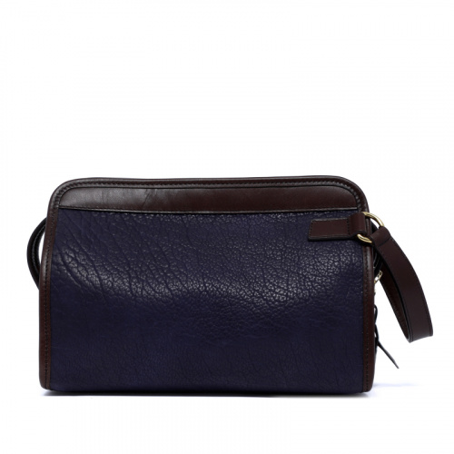 Large Travel Kit - Navy/Chocolate - Shrunken Bison Leather in