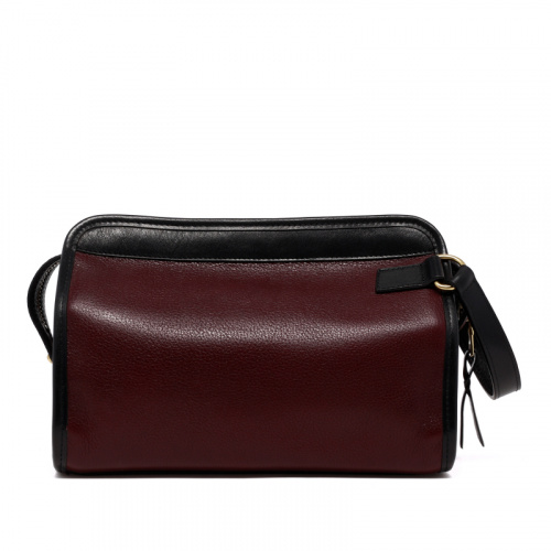 Large Travel Kit - Dark Plum/Black - Tumbled Leather in