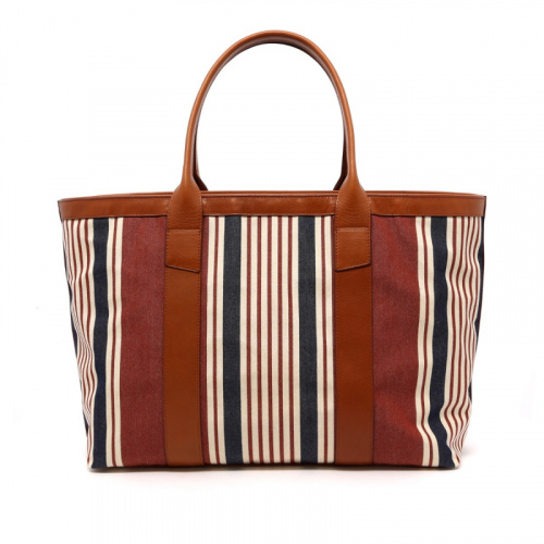 Large Working Tote - Striped Sunbrella/Cognac - Zipper Top in
