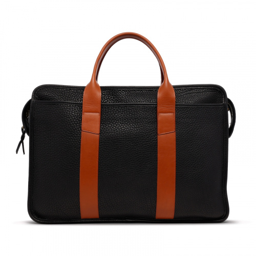 Bound Edge Zip-Top - Black/Cognac - Pebble Grain Leather  in
