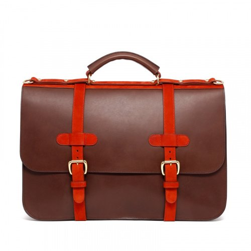 English Briefcase - Matte Chocolate/Burnt Orange - Belting Leather in