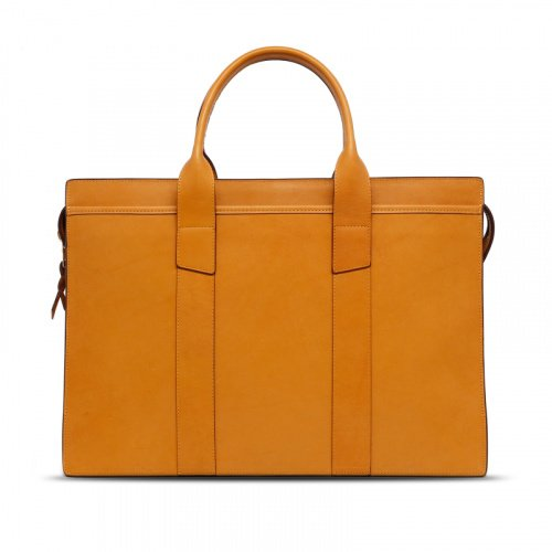 Double Zip-Top Briefcase - Ochre - Harness Leather in