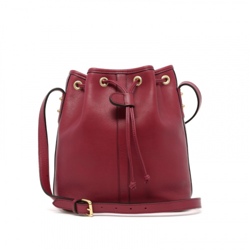 Bucket Bag - Berry - Tumbled Leather  in