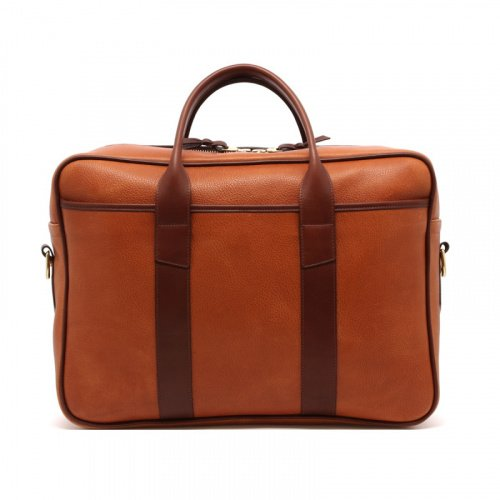Commuter Briefcase - Cognac/Chestnut - Pebbled Leather  in