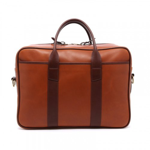 Commuter Briefcase - Cognac/Chocolate - Smooth Leather in