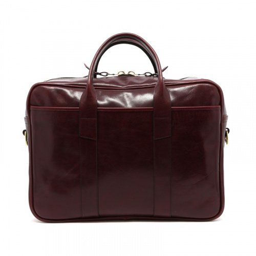 Commuter Briefcase - Dark Maroon - Glossy Tumbled Leather  in