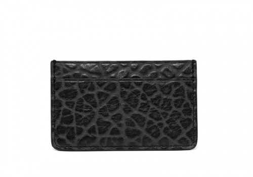 Leather Credit Card Wallet -Black-Single in Shrunken Grain Leather