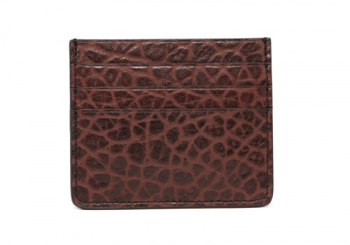 Leather Credit Card Wallet -Chocolate-Triple in Shrunken Grain Leather