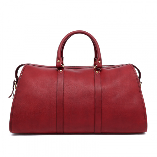 Hampton Duffle - Maroon - Tumbled Leather in