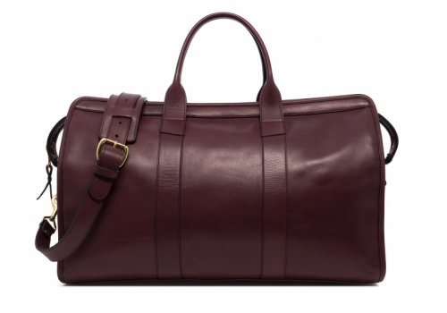 Signature Travel Duffle-Burgundy-Lined in Smooth Tumbled Leather
