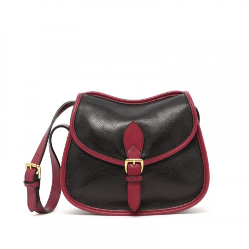 Rider Bag - Black/Berry - Tumbled Leather  in