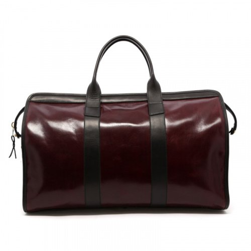 Signature Travel Duffle - Dark Maroon/Black - Glossy Leather  in