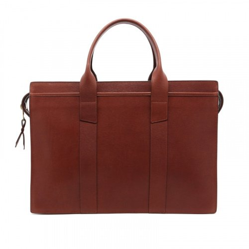 Zip-Top Briefcase - Chestnut - Hatch Grain Leather  in