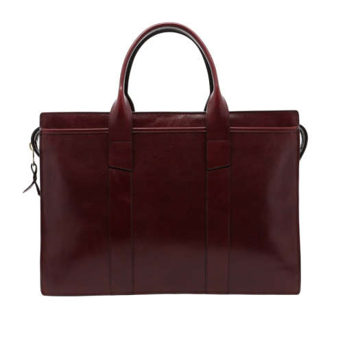 Zip-Top Briefcase - Dark Maroon - Glossy Tumbled Leather  in