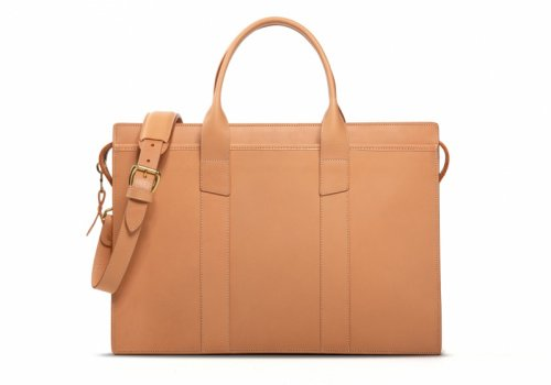Zip-Top Briefcase-Natural -Double in Harness Belting Leather