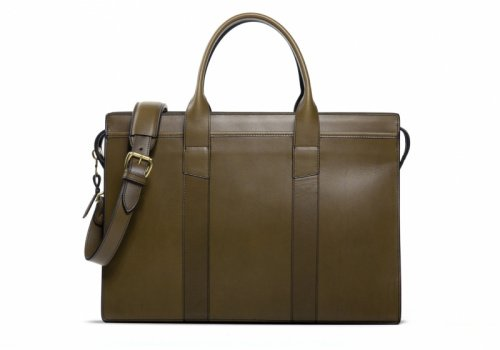 Zip-Top Briefcase-Olive-Double in Harness Belting Leather
