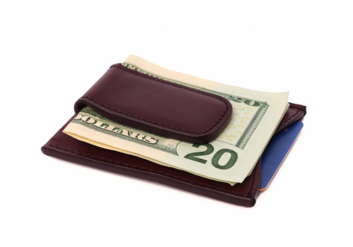 Money Clip Wallet-Burgundy in Smooth Tumbled Leather