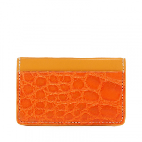 Mini Card Wallet - Orange / Yellow - Alligator - Yellow Edges in