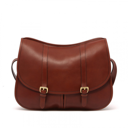 Saddle Messenger - Chestnut - Tumbled Leather  in