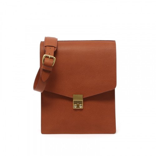 Lock Messenger Bag- Cognac - Scotch Grain Leather in