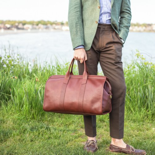 Signature Travel Duffle in Smooth Tumbled Leather