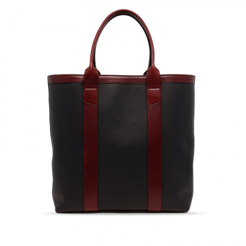 Tall Tote - Matte Black/Oxblood - Zip-Top Closure - Tumbled Leather in