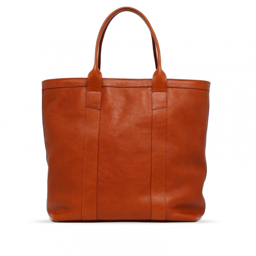 Tall Tote - Cognac - Zip-Top Closure - Pebbled Grain Leather in